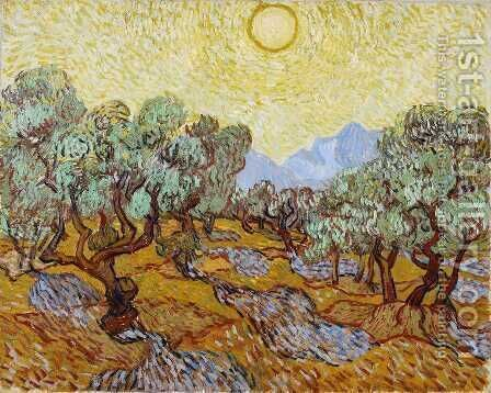 Olive Trees With Yellow Sky And Sun Painting