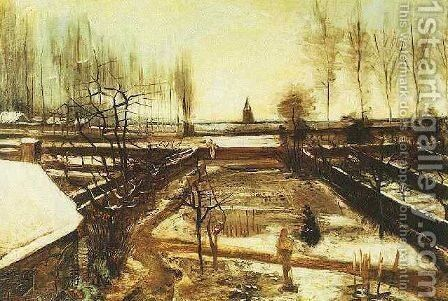 Parsonage Garden At Nuenen In The Snow The II by Vincent Van Gogh - Reproduction Oil Painting