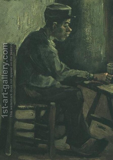 Peasant Sitting At A Table by Vincent Van Gogh - Reproduction Oil Painting