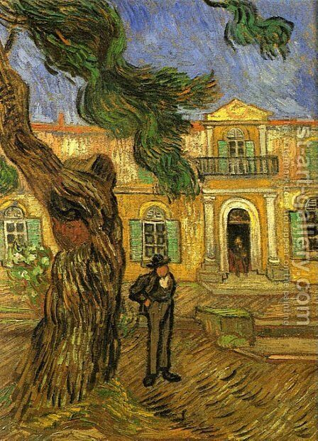 Pine Trees With Figure In The Garden Of Saint Paul Hospital by Vincent Van Gogh - Reproduction Oil Painting