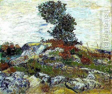 Rocks With Oak Tree by Vincent Van Gogh - Reproduction Oil Painting