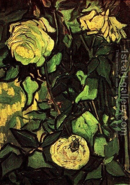 Roses And Beetle by Vincent Van Gogh - Reproduction Oil Painting
