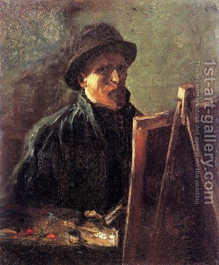 Self Portrait With Dark Felt Hat At The Easel by Vincent Van Gogh - Reproduction Oil Painting