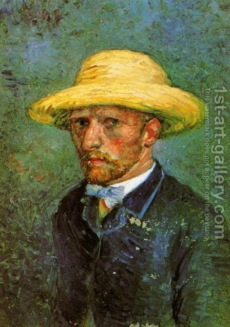 Self Portrait With Straw Hat by Vincent Van Gogh - Reproduction Oil Painting