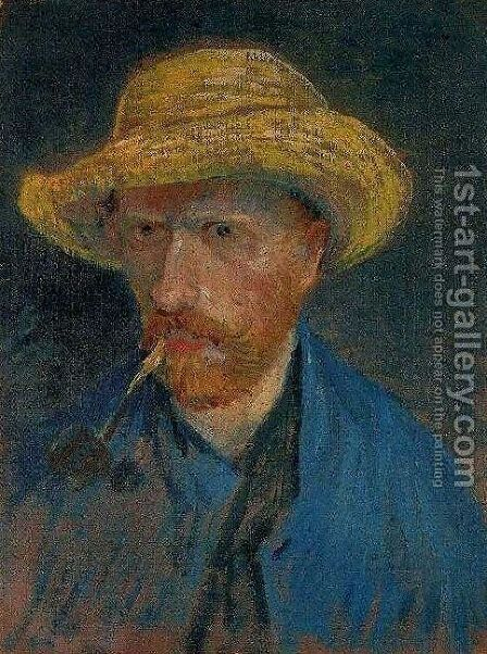 1d65be7d9bb Self Portrait With Straw Hat And Pipe by Vincent Van Gogh - Reproduction  Oil Painting