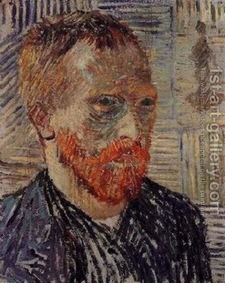 Self Portrait With A Japanese Print by Vincent Van Gogh - Reproduction Oil Painting