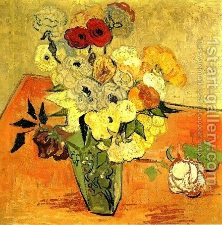 Japanese Vase With Roses And Anemones by Vincent Van Gogh - Reproduction Oil Painting