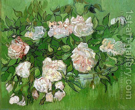 Pink Roses by Vincent Van Gogh - Reproduction Oil Painting