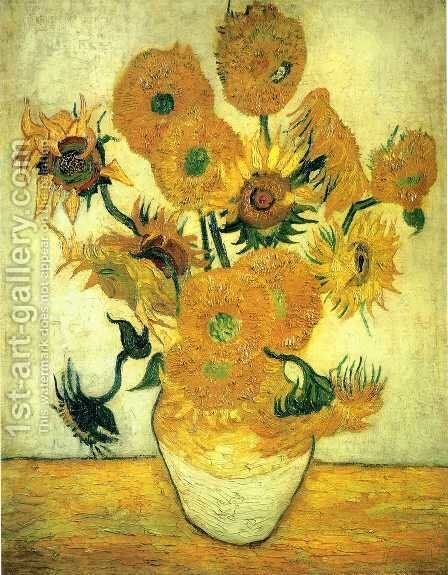 Vase With Fifteen Sunflowers III Painting