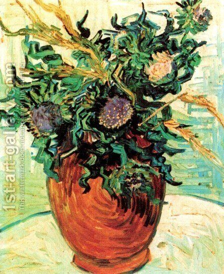 Vase With Flower And Thistles by Vincent Van Gogh - Reproduction Oil Painting  sc 1 st  1st Art Gallery & Vase With Flower And Thistles Painting by Vincent Van Gogh ...