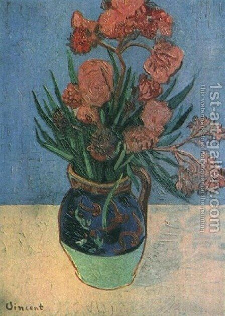 Vase With Oleanders by Vincent Van Gogh - Reproduction Oil Painting