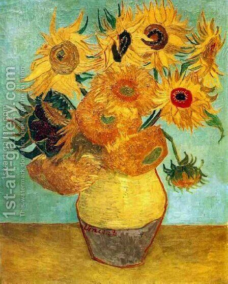 Vase With Twelve Sunflowers II by Vincent Van Gogh - Reproduction Oil Painting