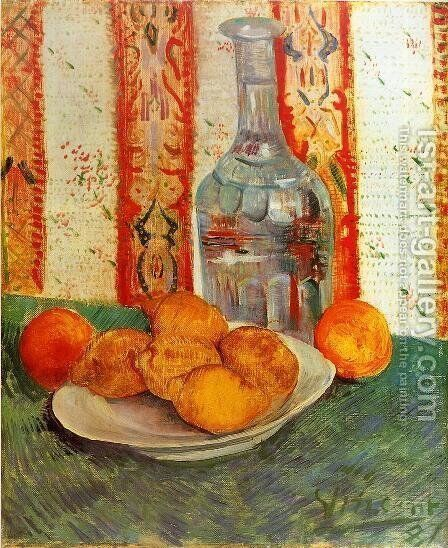 Still Life With Decanter And Lemons On A Plate by Vincent Van Gogh - Reproduction Oil Painting