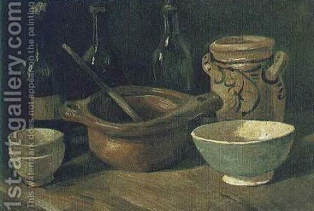 Still Life With Earthenware And Bottles by Vincent Van Gogh - Reproduction Oil Painting