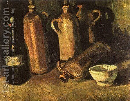 Still Life With Four Stone Bottles Flask And White Cup by Vincent Van Gogh - Reproduction Oil Painting