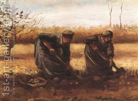 Two Peasant Women Digging Potatoes by Vincent Van Gogh - Reproduction Oil Painting
