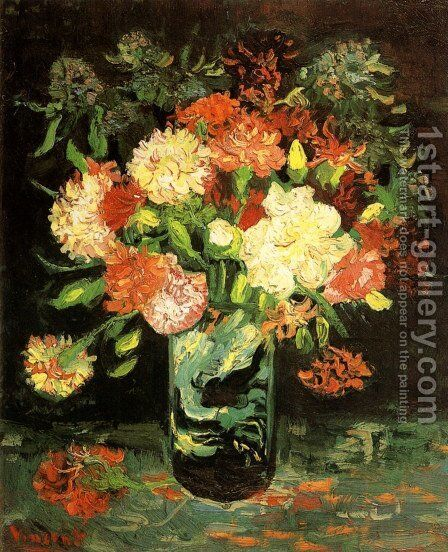 Vase With Carnations by Vincent Van Gogh - Reproduction Oil Painting