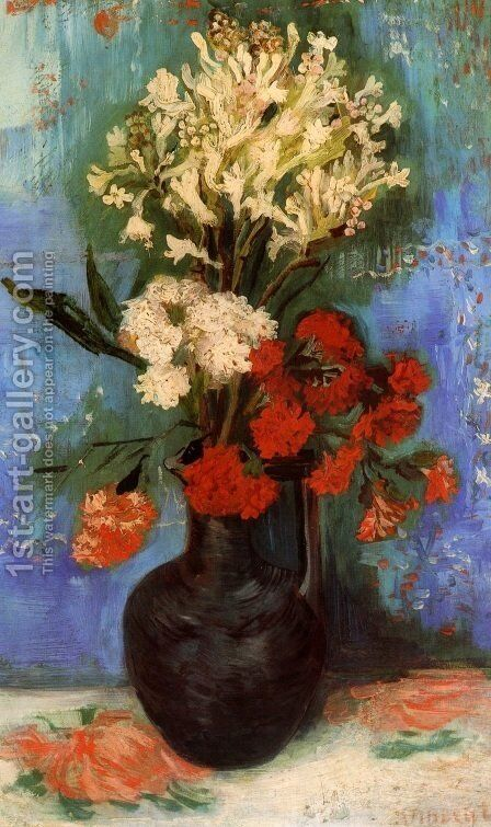 Vase With Carnations And Other Flowers by Vincent Van Gogh - Reproduction Oil Painting & Vase With Carnations And Other Flowers Painting by Vincent Van Gogh ...