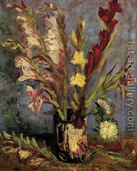 Vase With Gladioli by Vincent Van Gogh - Reproduction Oil Painting