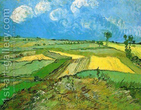 Wheat Fields At Auvers Under Clouded Sky by Vincent Van Gogh - Reproduction Oil Painting