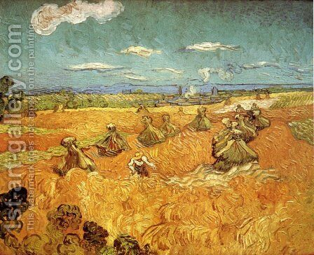 Wheat Stacks With Reaper by Vincent Van Gogh - Reproduction Oil Painting