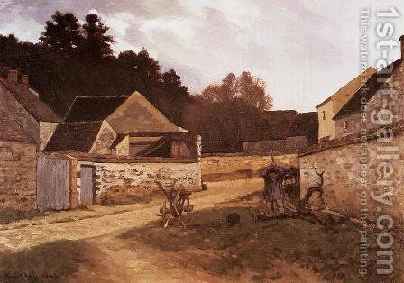 Village Street In Marlotte by Alfred Sisley - Reproduction Oil Painting