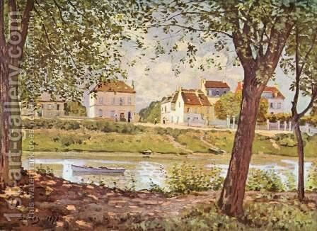 Village On The Banks Of The Seine Villeneuve La Garenne by Alfred Sisley - Reproduction Oil Painting