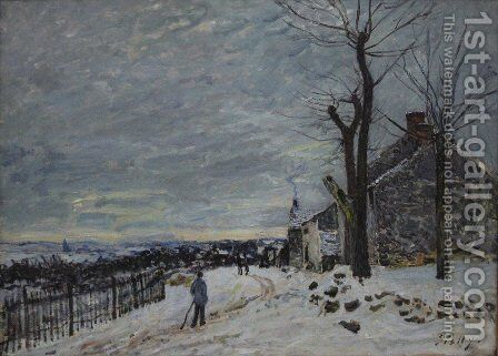 Snowy Weather At Veneux Nadon by Alfred Sisley - Reproduction Oil Painting