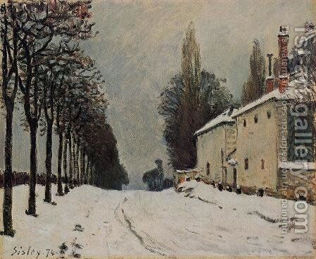 Snow On The Road Louveciennes Chemin De La Machine by Alfred Sisley - Reproduction Oil Painting