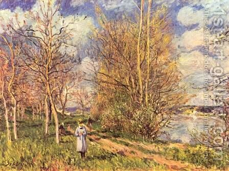 Small Meadows In Spring by Alfred Sisley - Reproduction Oil Painting