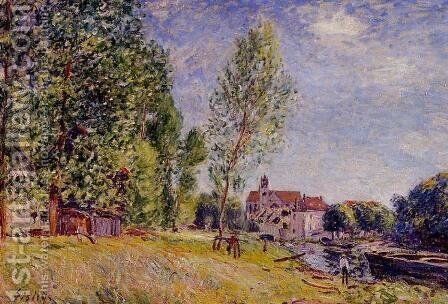 Matrats Boatyard Moret Sur Loing by Alfred Sisley - Reproduction Oil Painting