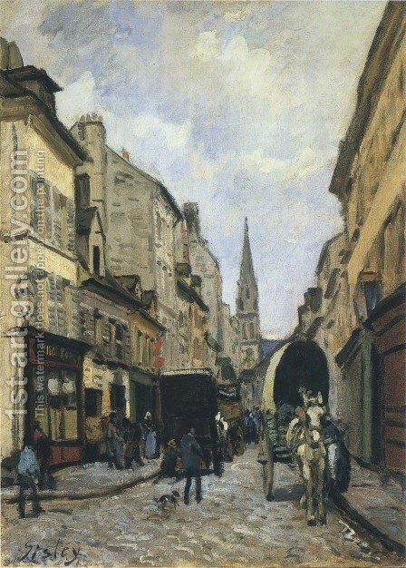 La Grande Rue Argenteuil by Alfred Sisley - Reproduction Oil Painting
