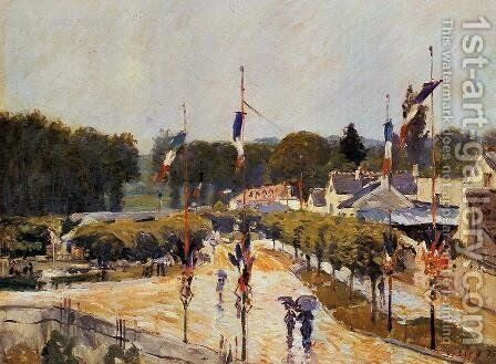 Fete Day At Marly Le Roi Formerly The Fourteenth Of July At Marly Le Roi by Alfred Sisley - Reproduction Oil Painting