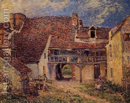 Courtyard Of Farm At St Mammes by Alfred Sisley - Reproduction Oil Painting
