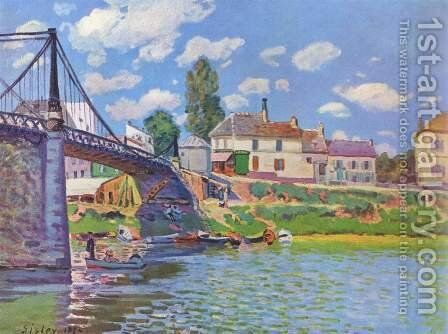 The Bridge at Villeneuve-la-Garenne 1872 by Alfred Sisley - Reproduction Oil Painting