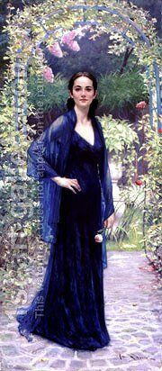 Jennifer In Garden by Banks Allan - Reproduction Oil Painting