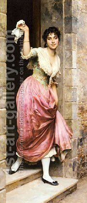 Blass Eugene De The Farewell by Blaas Eugen De - Reproduction Oil Painting
