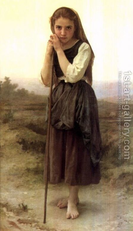 A Little Shepherdess 1891 by William-Adolphe Bouguereau - Reproduction Oil Painting