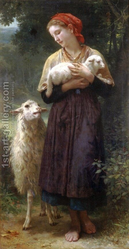 The Shepherdess 1873 165.1x87.6cm by William-Adolphe Bouguereau - Reproduction Oil Painting