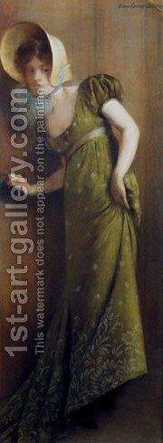 Carrier Belleuse  Elegant Woman In A Green Dress by Carrier-belleuse Pierre - Reproduction Oil Painting
