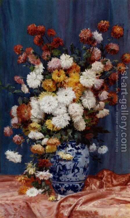 Degrande Adolphe Louis Mums In A Porcelain Vase by Adolphe Louis Castex-Degrange - Reproduction Oil Painting