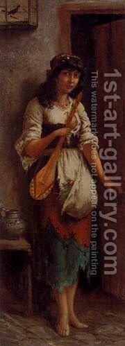 An Italian Street Musician by Stifter Moritz - Reproduction Oil Painting