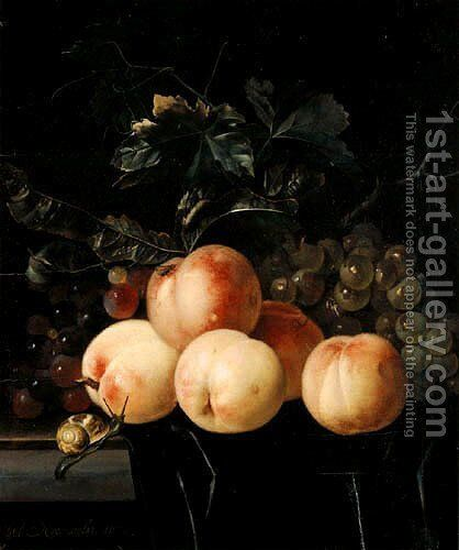 Peaches And Grapes by Willem Van Aelst - Reproduction Oil Painting