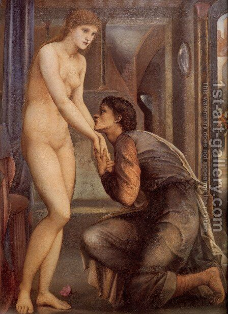Pygmalion And The Image: IV   The Soul Attains [detail] by Sir Edward Coley Burne-Jones - Reproduction Oil Painting