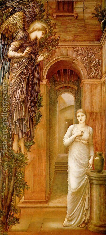 The Annunciation, 1879 by Sir Edward Coley Burne-Jones - Reproduction Oil Painting
