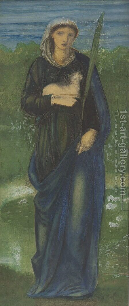 St  Agnes by Sir Edward Coley Burne-Jones - Reproduction Oil Painting