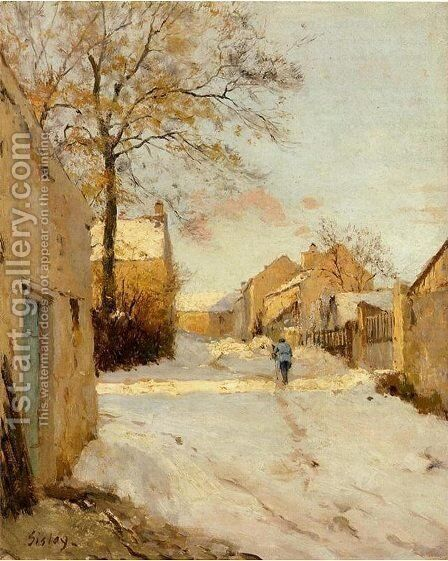 A Village Street In Winter by Alfred Sisley - Reproduction Oil Painting