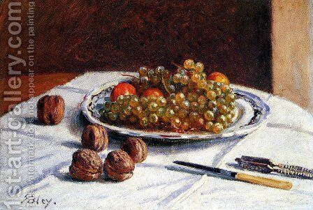 Grapes And Walnuts On A Table by Alfred Sisley - Reproduction Oil Painting