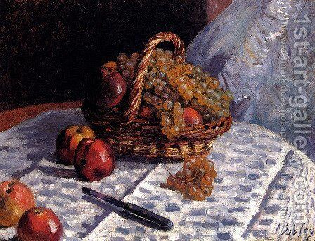 Still Life: Apples And Grapes by Alfred Sisley - Reproduction Oil Painting