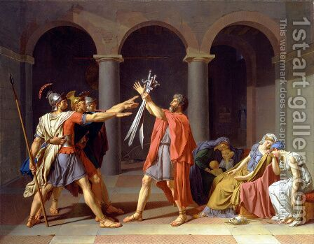 The Oath of the Horatii 1784 by Jacques Louis David - Reproduction Oil Painting